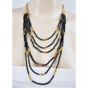 BCBG NECKLACE LAYERED GOLD BLACK BEADED TIERED
